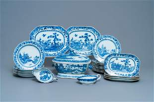 A composite 25-piece Chinese blue and white service,