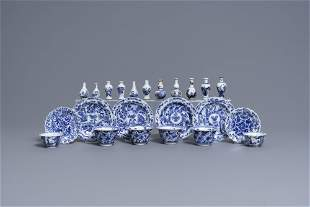 Six Chinese blue and white cups and saucers and eleven