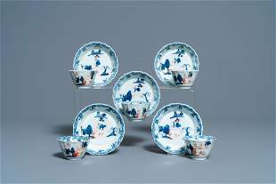 Five Chinese Imari-style cups and saucers, Kangxi