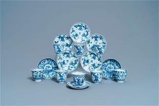 Eight Chinese blue and white cups and saucers, Kangxi