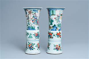 Two large Chinese wucai 'gu' vases, Transitional period
