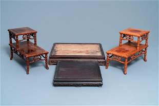 Four large Chinese carved wooden stands, 19/20th C.