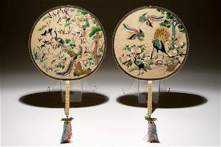 Two Chinese embroidered silk pien mien fans with carved