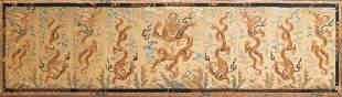 A Chinese gold-thread embroidered silk 'dragon' panel,