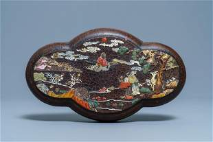 A Chinese mother-of-pearl and soapstone-inlaid