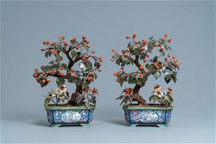 A pair of large Chinese Canton enamel jardinieres with