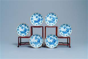 Six Chinese blue and white lobed plates with ducks and