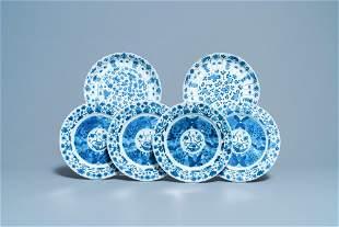 Six Chinese blue and white plates, Kangxi