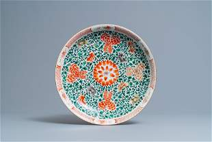 A Chinese famille verte dish with floral design, Kangxi