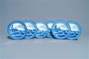 Six Chinese blue and white 'Scheveningen' plates,