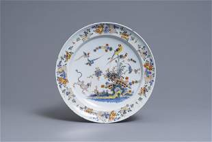 A polychrome Dutch Delft kakiemon-style dish, 18th C.