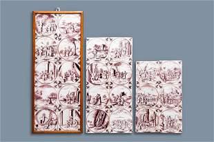 24 manganese Dutch Delft biblical tiles, 18th C.