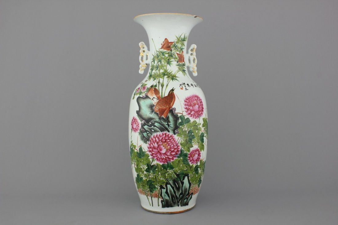 A Chinese porcelain famille rose vase birds and