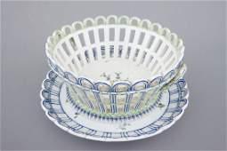 A Niderviller porcelain open-worked basket on stand,