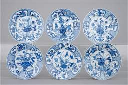 A set of six blue and white Chinese porcelain plates