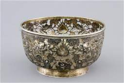An open-worked Chinese silver dragon bowl, Wang Hing,