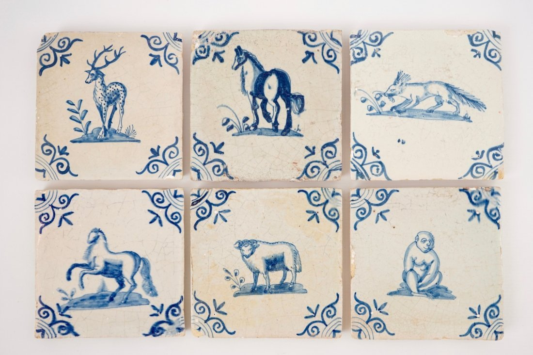 A set of six blue and white Dutch Delft tiles with