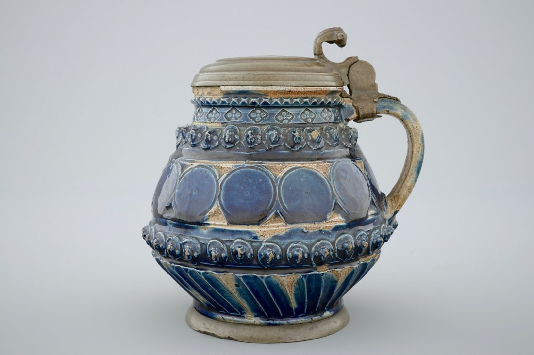 A pewter-mounted Muskau stoneware stein, dated 1660 - 2