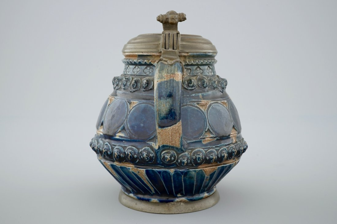 A pewter-mounted Muskau stoneware stein, dated 1660 - 3