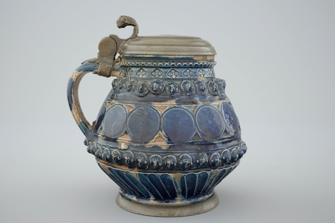 A pewter-mounted Muskau stoneware stein, dated 1660 - 4
