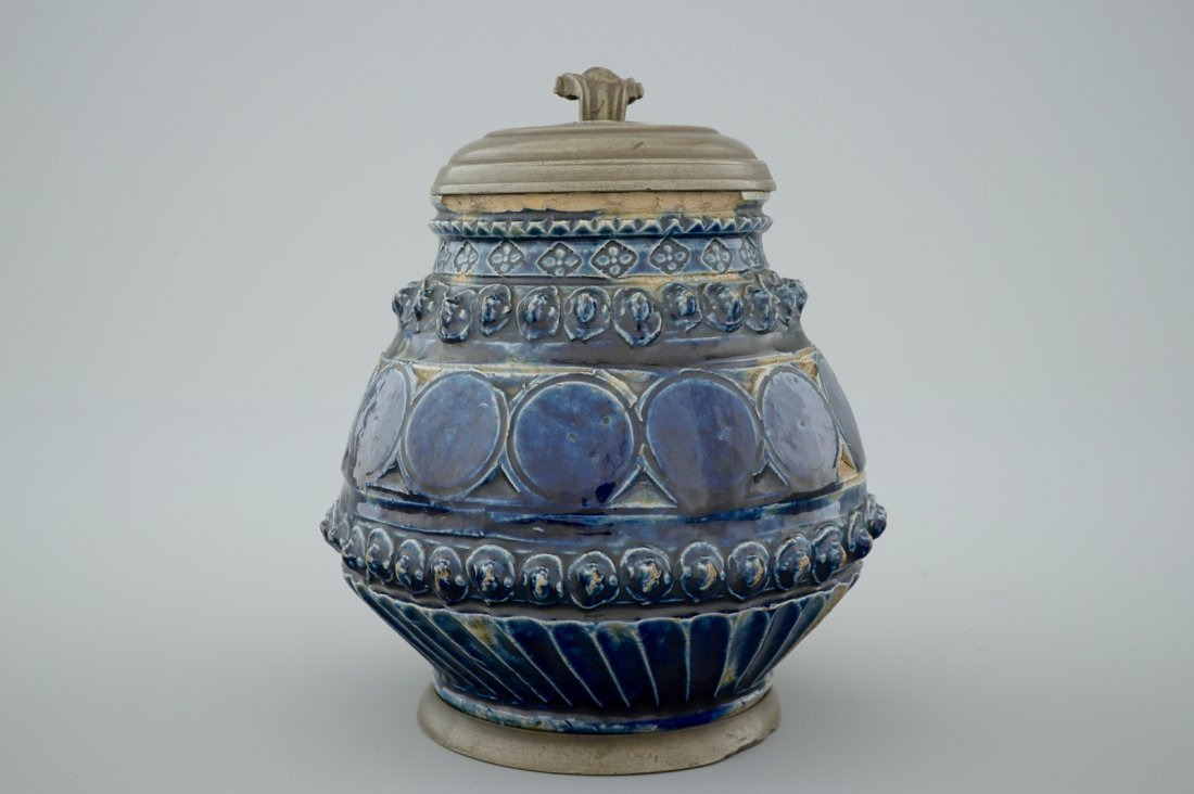 A pewter-mounted Muskau stoneware stein, dated 1660 - 5