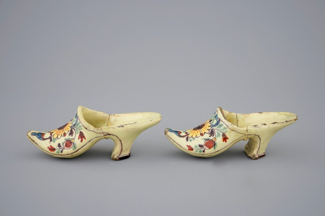 A pair of Dutch Delft polychrome pottery shoes and a - 4