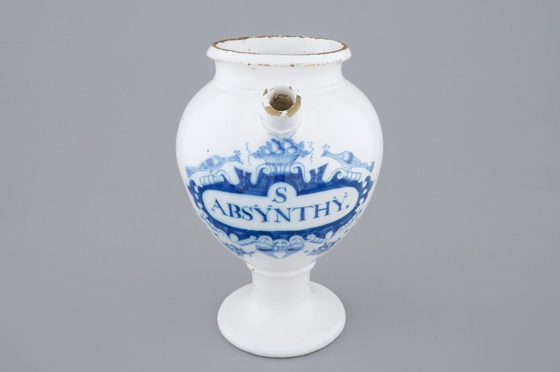 "A blue and white Dutch Delft wet drug jar ""Absinthe"", - 2"