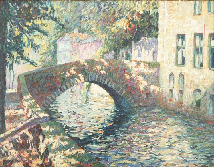 Charles Verbrugghe, a pointillist oil on panel, Un pont