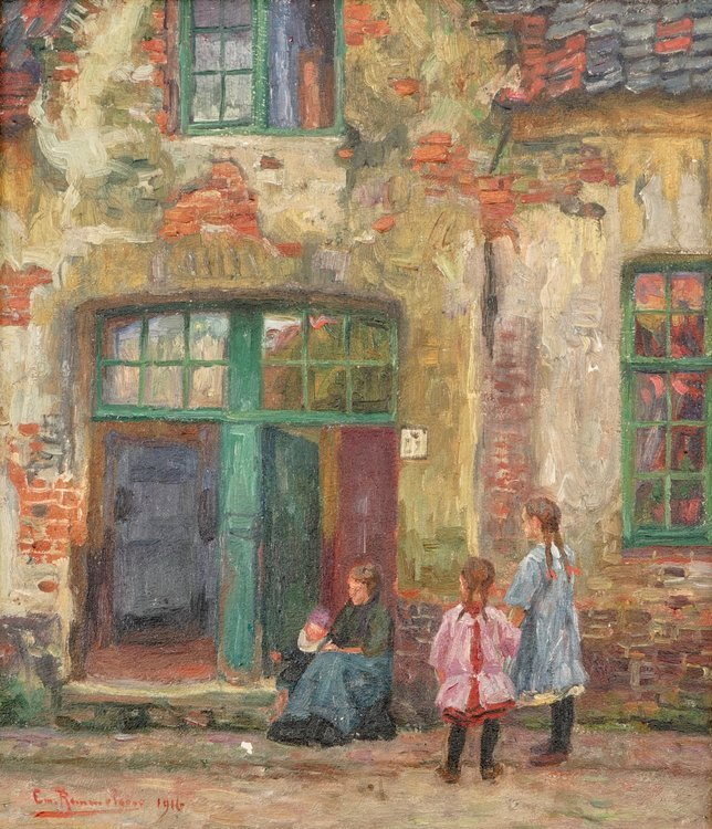 Emile Rommelaere (1873-1961), a view in Bruges, oil on