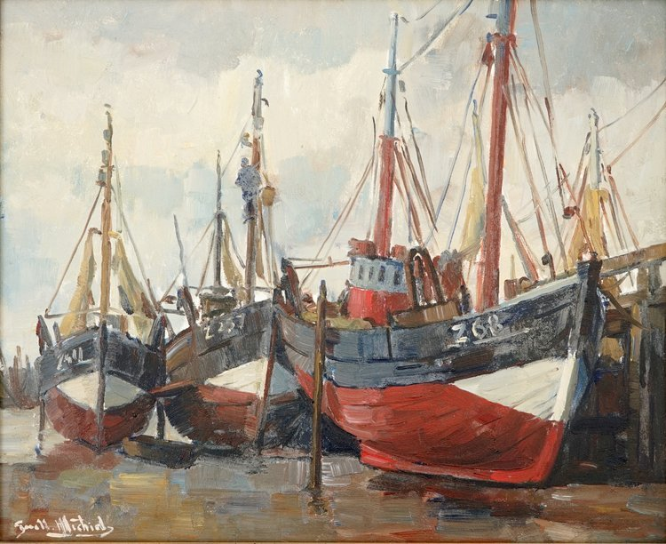 Guillaume Michiels (1909-1997), fishing boats at the