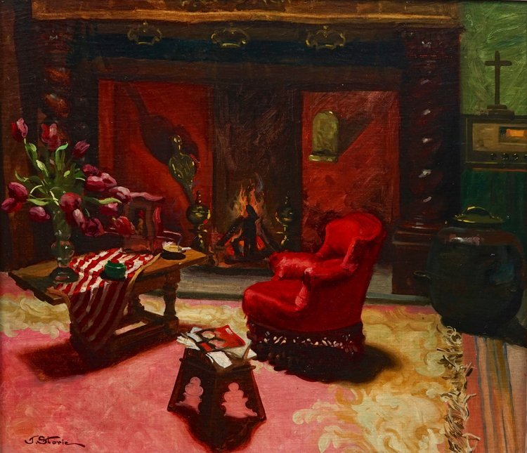 José Storie (1899-1961), Interieur with a fireplace