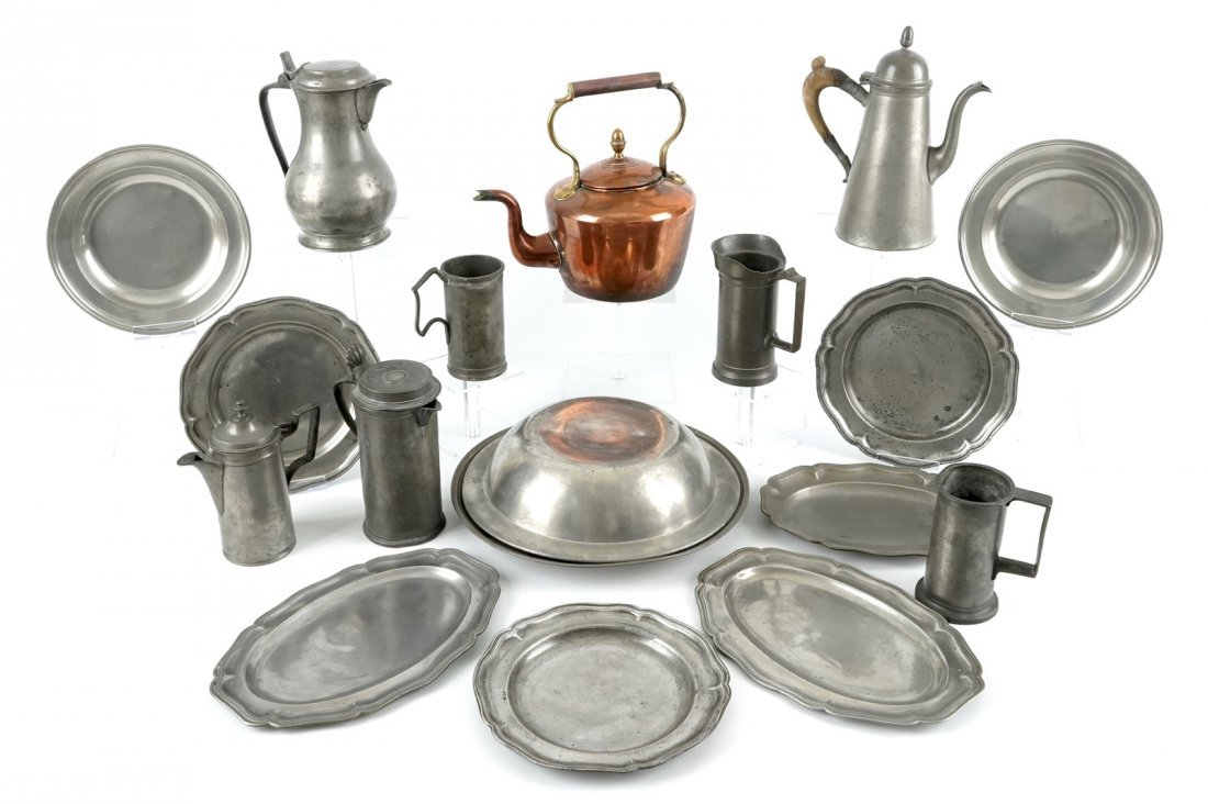 A collection of pewter wares, consisting of 18 jugs,