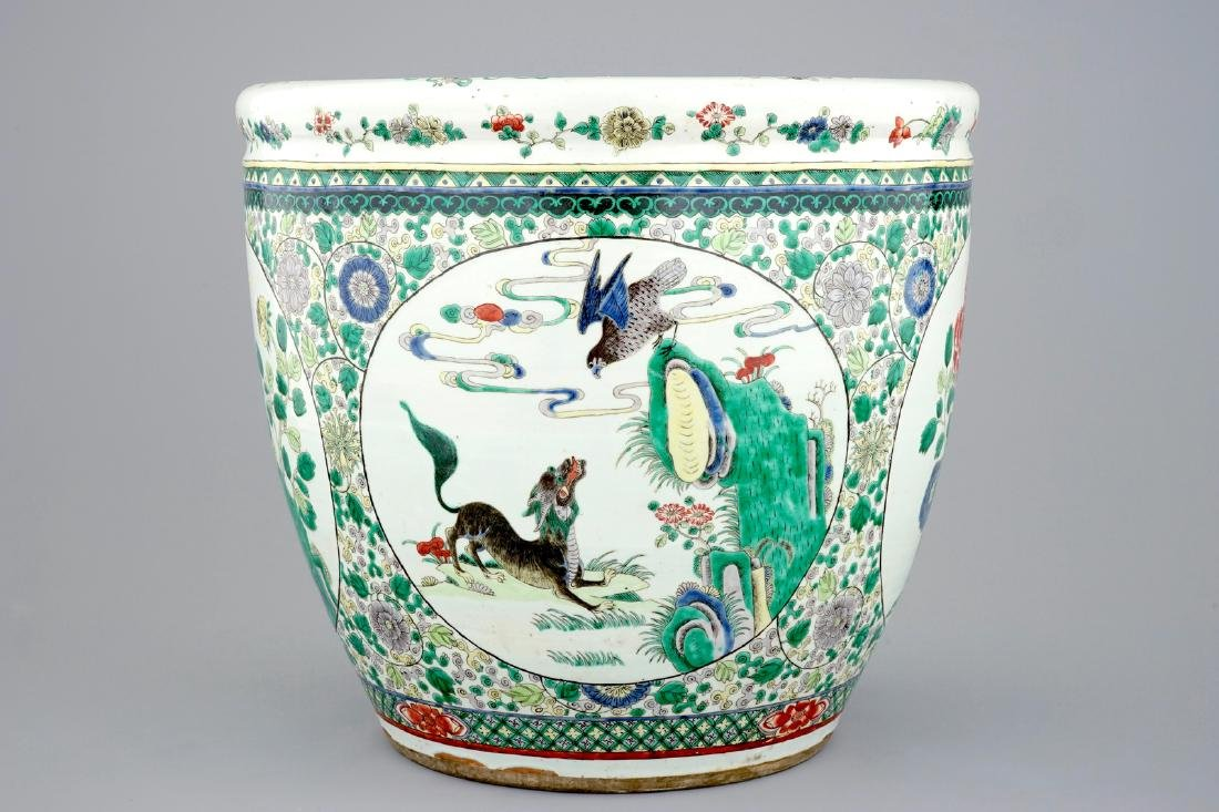 A large Chinese famille verte fish bowl with