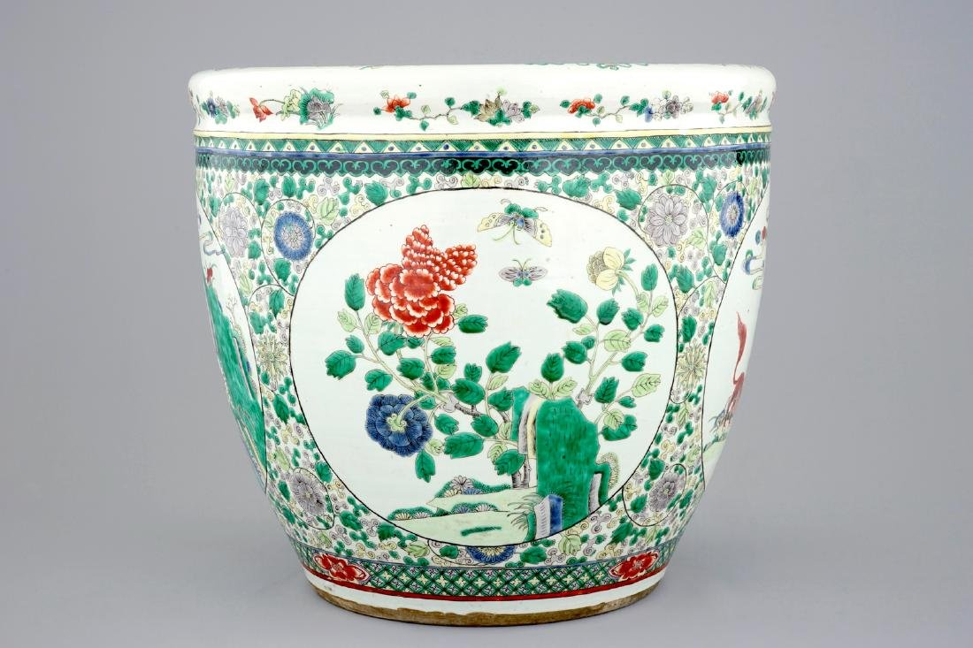A large Chinese famille verte fish bowl with - 2
