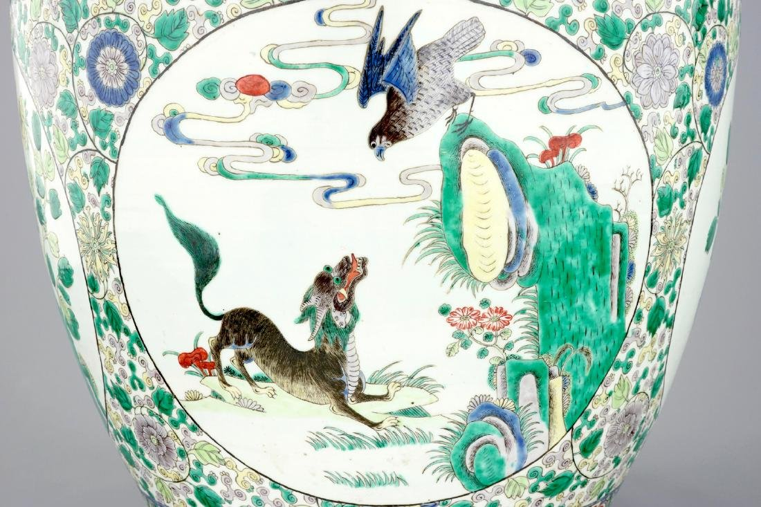 A large Chinese famille verte fish bowl with - 6