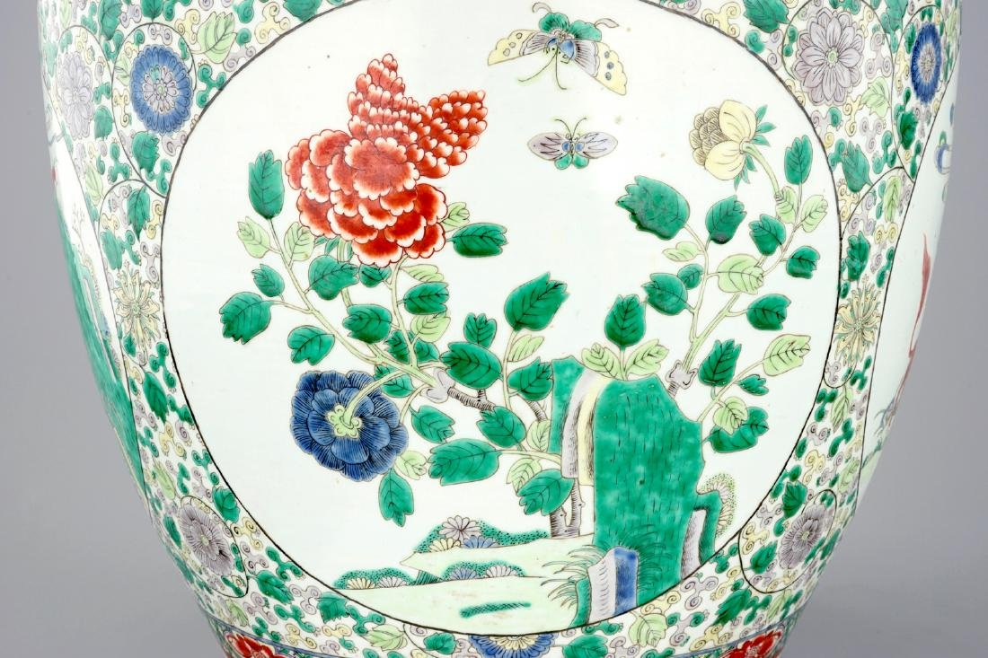 A large Chinese famille verte fish bowl with - 7