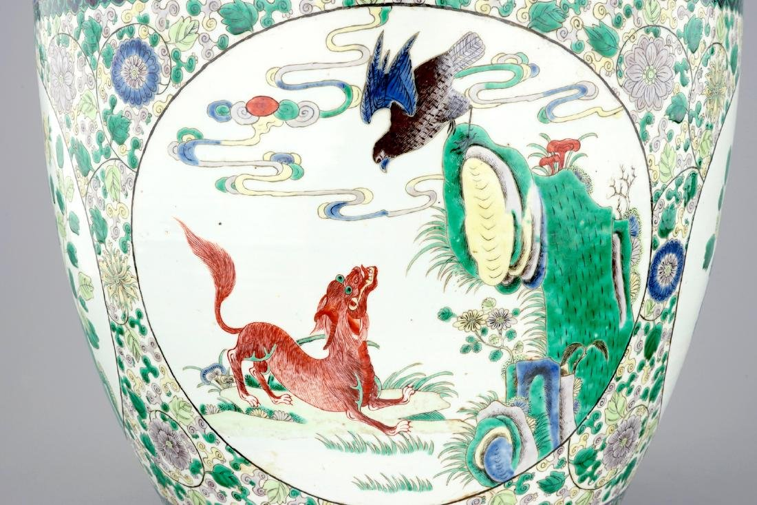 A large Chinese famille verte fish bowl with - 8