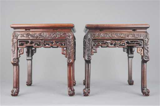 Two Chinese Carved Hongmu Wood Marble Top Vase Stands