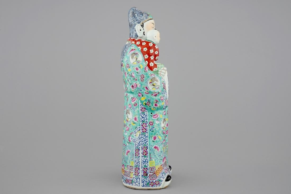 A large Chinese famille rose figure of an immortal, - 4