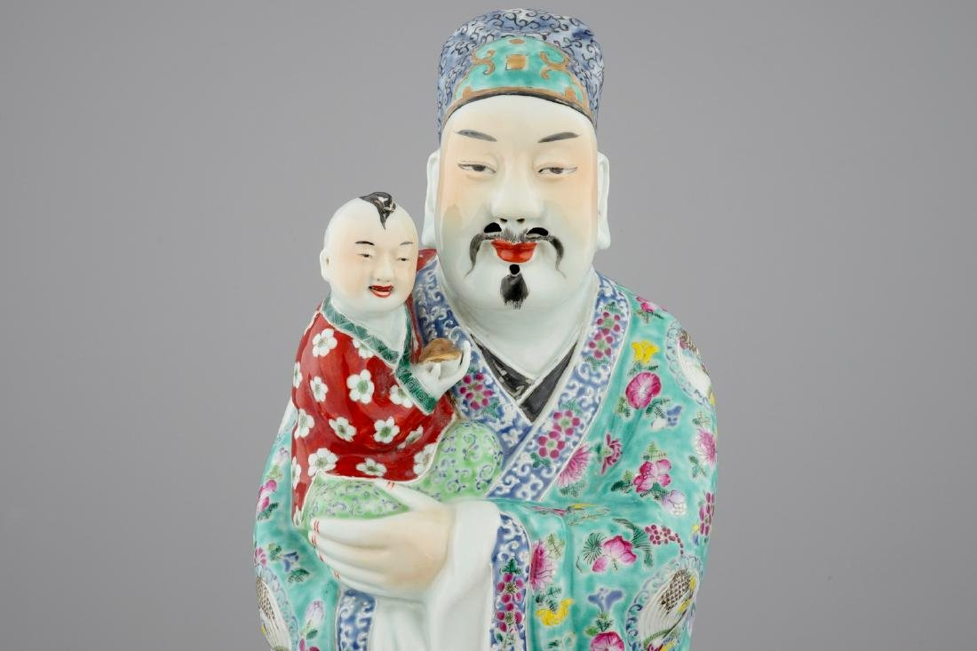 A large Chinese famille rose figure of an immortal, - 5