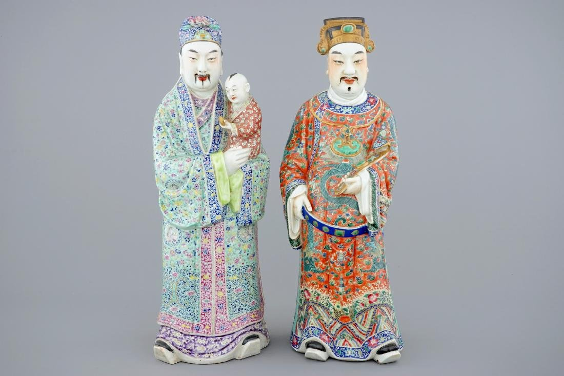 A set of 2 Chinese famille rose figures of immortals,