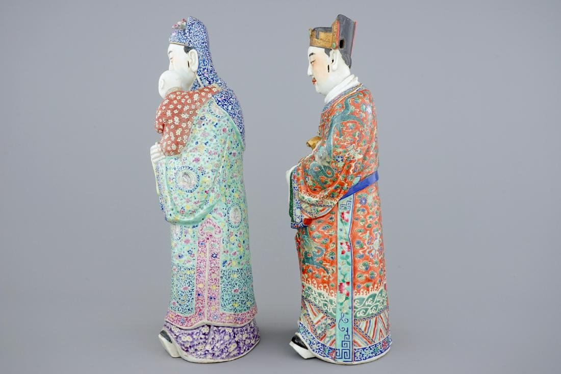 A set of 2 Chinese famille rose figures of immortals, - 2