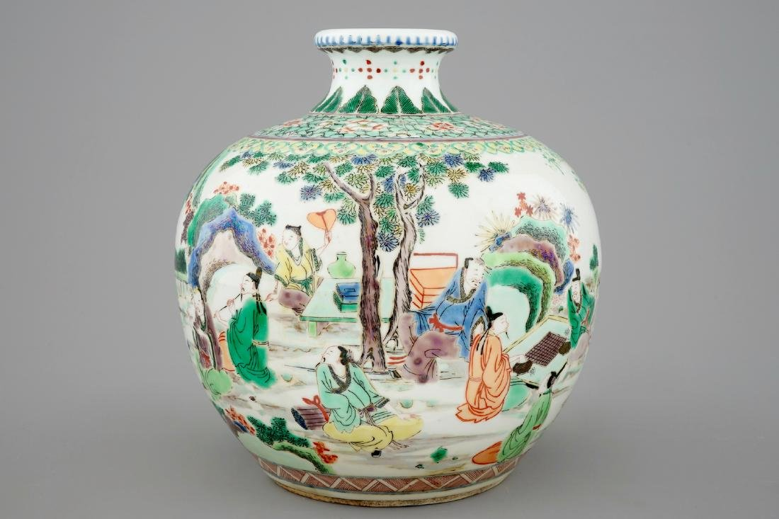 A fine Chinese famille verte vase with scholars in a