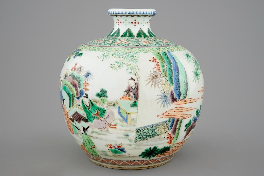 A fine Chinese famille verte vase with scholars in a - 2