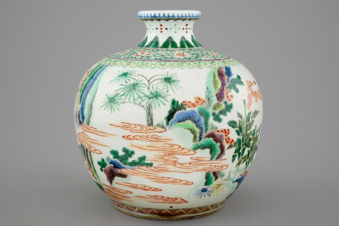 A fine Chinese famille verte vase with scholars in a - 3