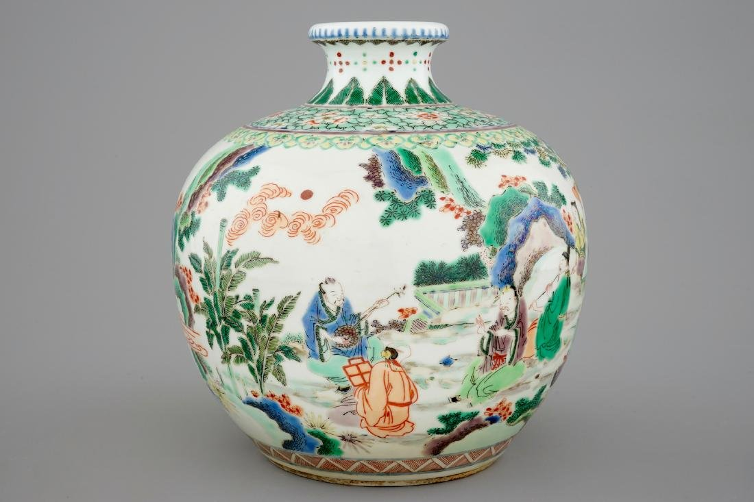 A fine Chinese famille verte vase with scholars in a - 4
