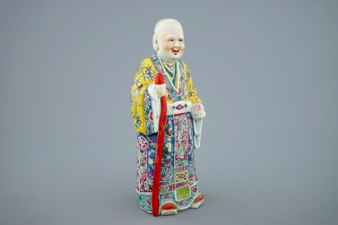 A Chinese famille rose figure of Shou Lao, 19th C.