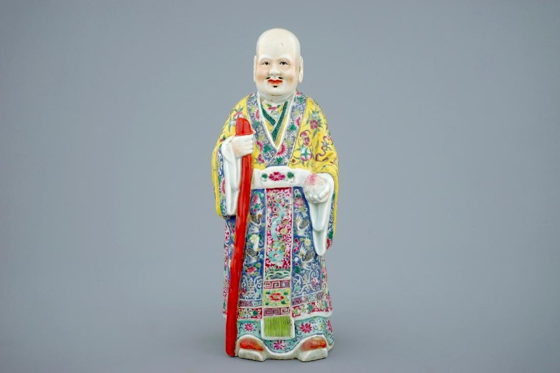 A Chinese famille rose figure of Shou Lao, 19th C. - 2