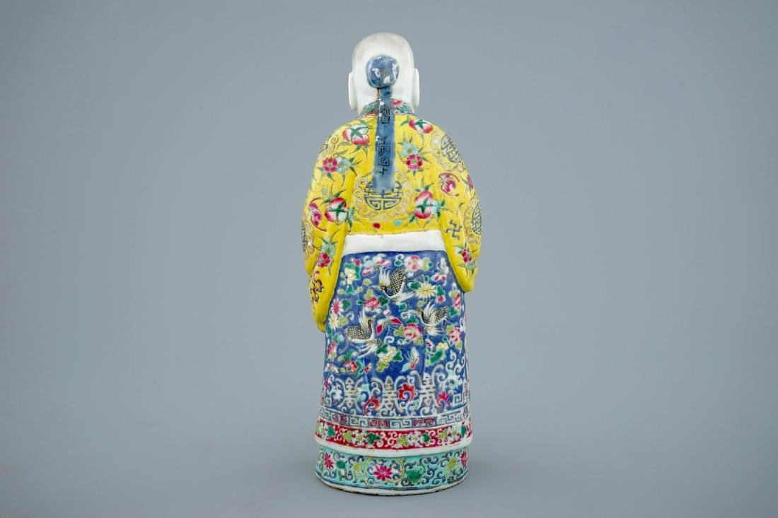 A Chinese famille rose figure of Shou Lao, 19th C. - 4
