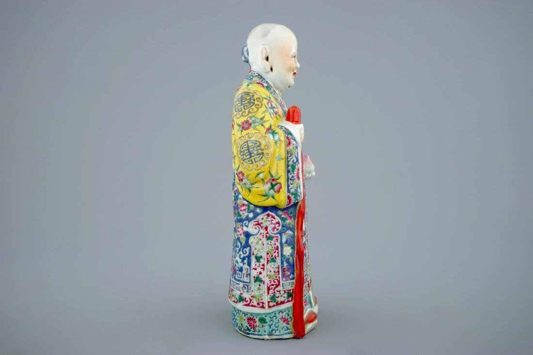 A Chinese famille rose figure of Shou Lao, 19th C. - 5
